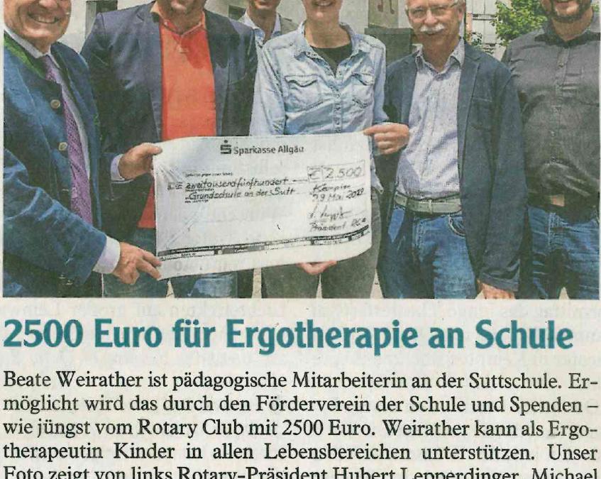 Rotary Club Spende für Ergotherapie