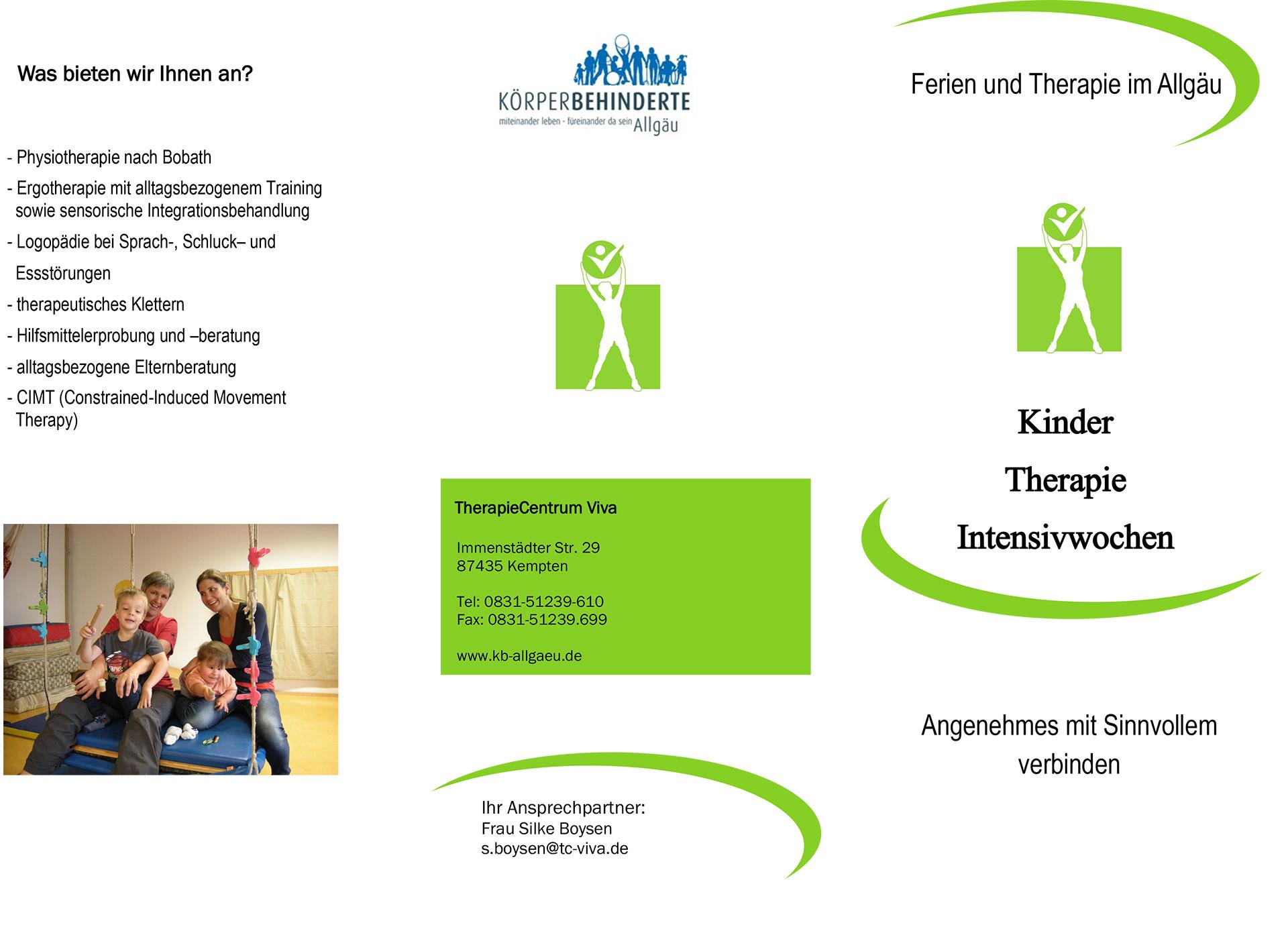 Flyer Therapie Intensivwochen 2021 Vorderseiten